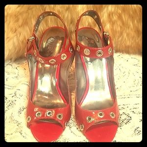 Red leather high heels